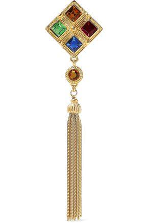BEN-AMUN Gold-tone crystal tasseled brooch