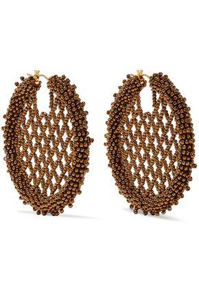 OSCAR DE LA RENTA Beaded gold-tone earrings