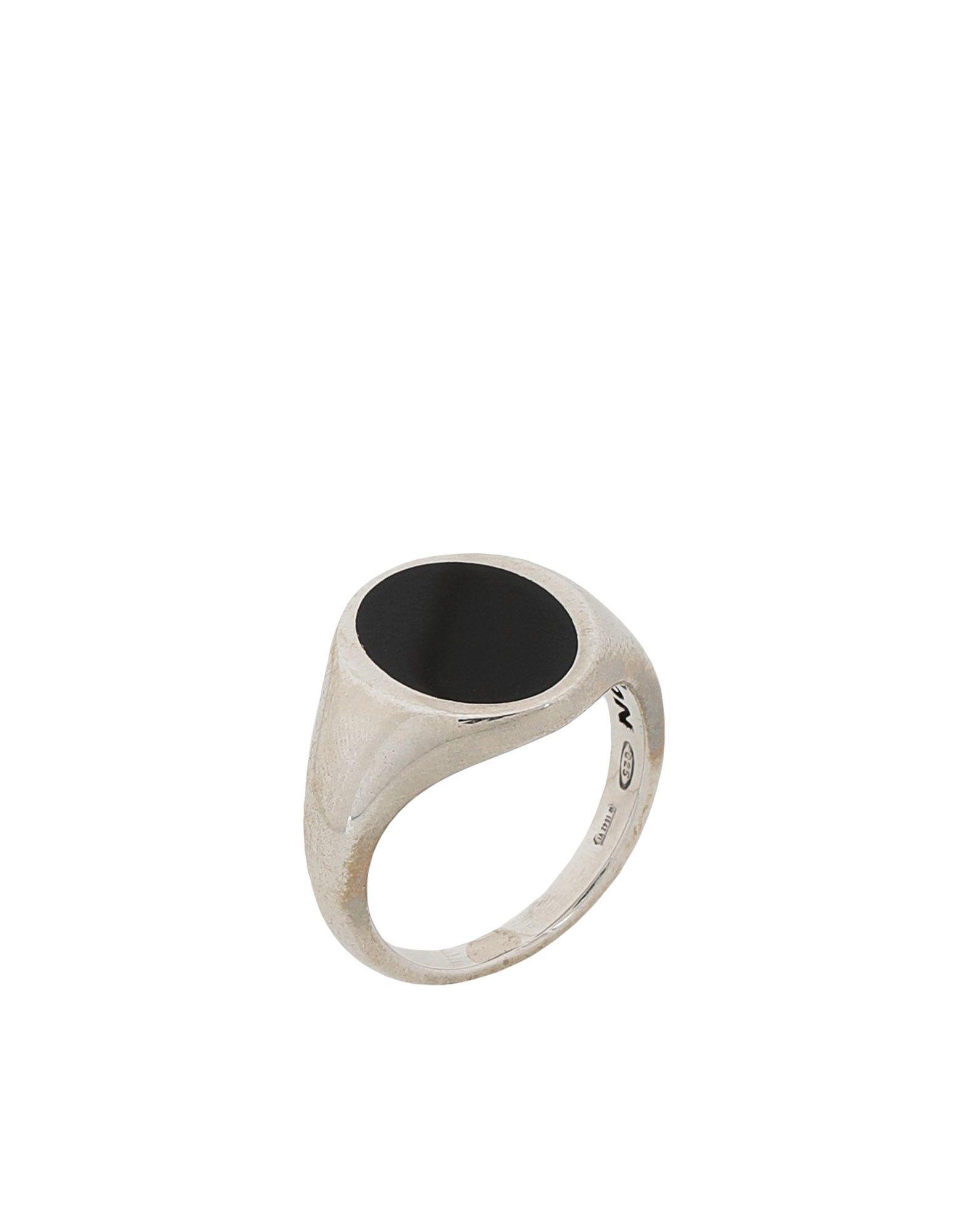 《期間限定 セール開催中》NOVE25 メンズ 指輪 シルバー 16 シルバー925/1000 OVAL BLACK ENAMEL SIGNET RING