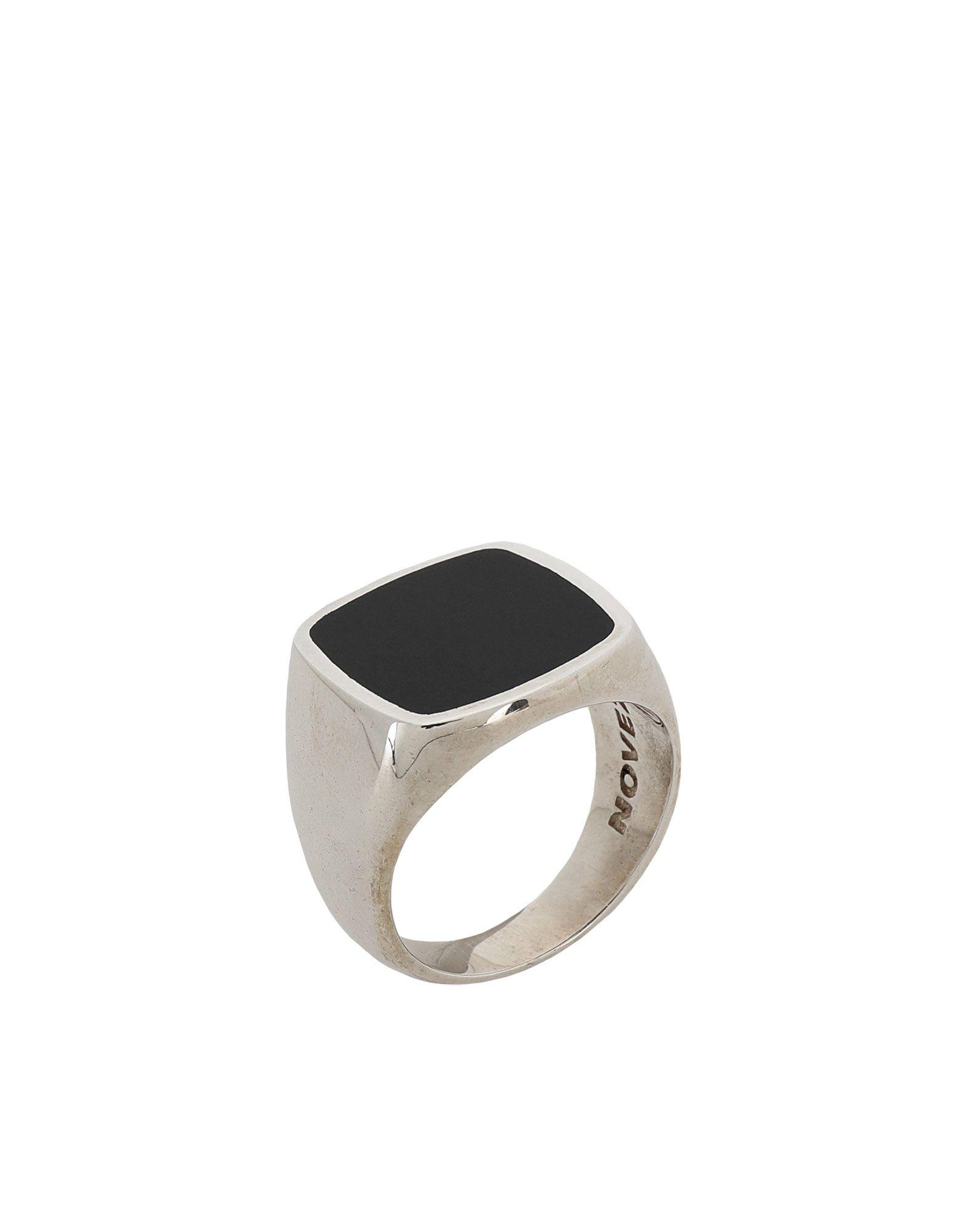 《期間限定 セール開催中》NOVE25 メンズ 指輪 シルバー 20 シルバー925/1000 BLACK ENAMEL SQUARE SIGNET RING