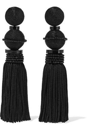 OSCAR DE LA RENTA Gold-tone, cord, resin and beaded tassel clip earrings