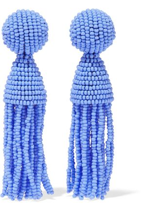OSCAR DE LA RENTA Gold-tone, beaded tassel clip earrings