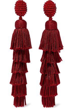OSCAR DE LA RENTA Gold-tone, bead, cord and tassel clip earrings