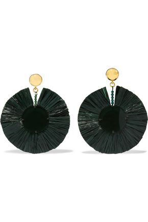 OSCAR DE LA RENTA Gold-tone, raffia and resin clip earrings