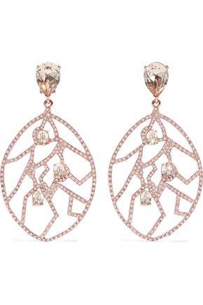 OSCAR DE LA RENTA Rose gold-tone crystal clip earrings