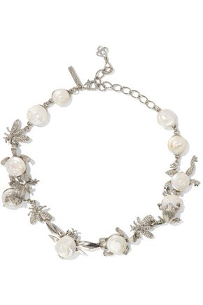 OSCAR DE LA RENTA Silver-tone, crystal and resin necklace