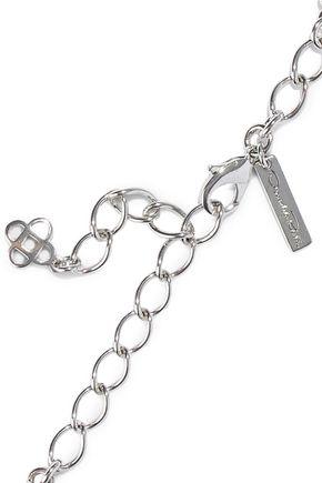 OSCAR DE LA RENTA Silver-tone, crystal and stone necklace