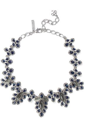 OSCAR DE LA RENTA Silver-tone, crystal and stone necklace