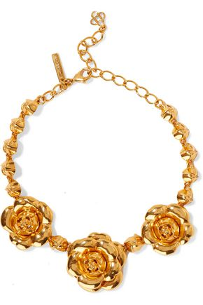 OSCAR DE LA RENTA Gardenia gold-tone necklace