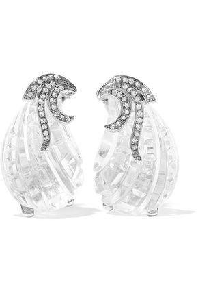 KENNETH JAY LANE Silver-tone, crystal and resin clip earrings