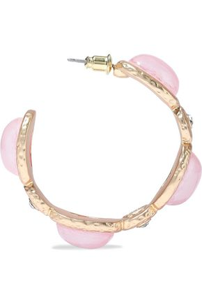 KENNETH JAY LANE Hammered gold-tone, crystal and stone hoop earrings