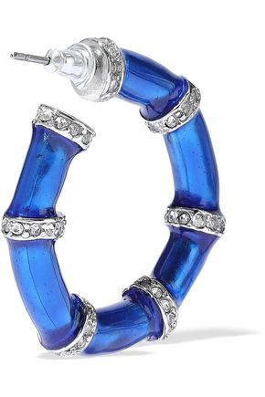 KENNETH JAY LANE Silver-tone, crystal and enamel hoop earrings