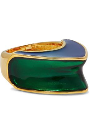 KENNETH JAY LANE Gold-tone color-block enamel ring