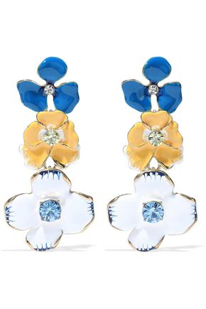 KENNETH JAY LANE Crystal, enamel and gold-tone earrings