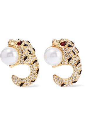 KENNETH JAY LANE Gold-tone, crystal, faux pearl and enamel clip earrings