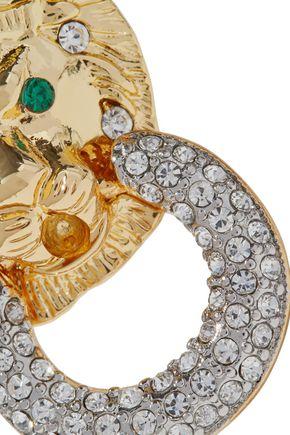 KENNETH JAY LANE Gold-tone crystal clip earrings