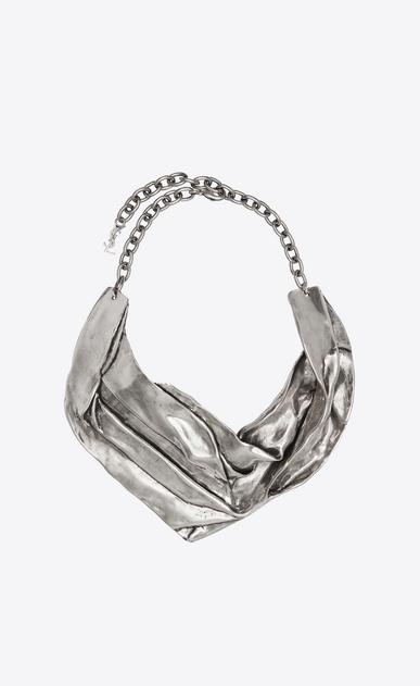 SAINT LAURENT Short Necklaces Woman DRAPEE bib necklace in silver-tone metal a_V4