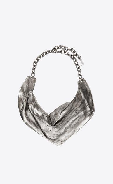 SAINT LAURENT Short Necklaces Woman DRAPEE bib necklace in silver-tone metal b_V4