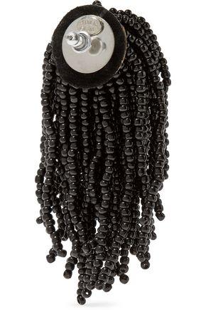 KENNETH JAY LANE Silver-tone beaded tassel earrings
