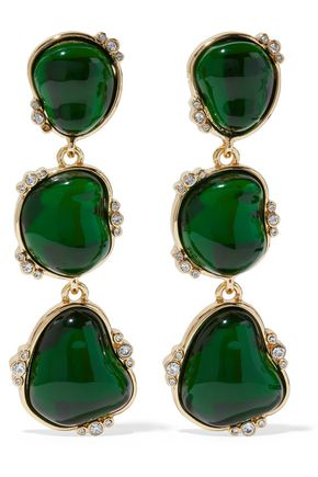 KENNETH JAY LANE Gold-tone, crystal and stone clip earrings