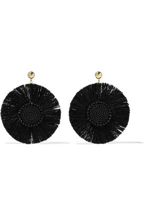 KENNETH JAY LANE Gold-tone beaded fringed earrings