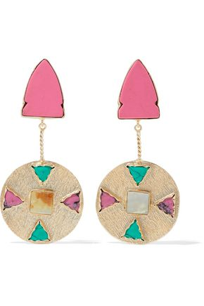 KENNETH JAY LANE Gold-tone, resin, and stone earrings
