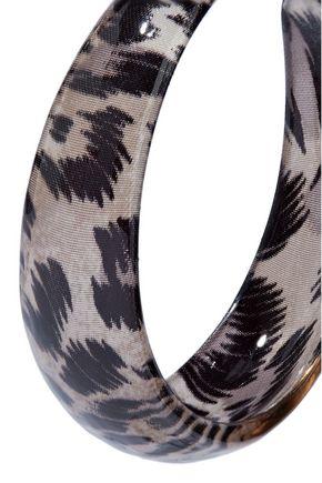 KENNETH JAY LANE Silver-tone and leopard-print acrylic hoop earrings