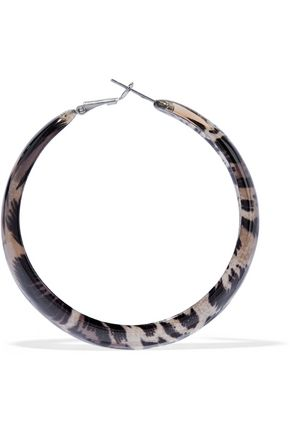 KENNETH JAY LANE Silver-tone and leopard-print acrylic hoop earrings