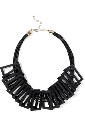 KENNETH JAY LANE Wood, cord and gold-tone necklace