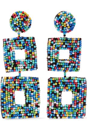 KENNETH JAY LANE Beaded faux suede earrings