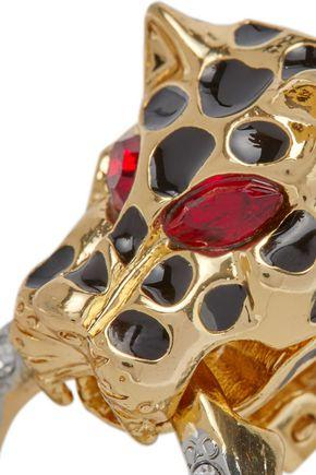 KENNETH JAY LANE Gold-tone, enamel and crystal clip earrings