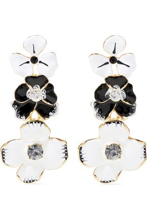 KENNETH JAY LANE Gold-tone, enamel and crystal clip earrings