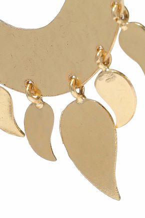KENNETH JAY LANE Hammered gold-tone hoop earrings