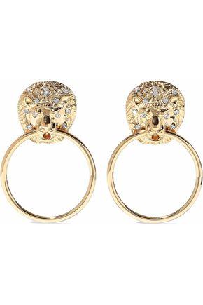 KENNETH JAY LANE Gold-tone crystal hoop earrings