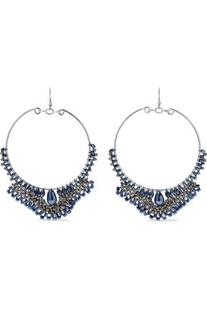 KENNETH JAY LANE Silver-tone beaded hoop earrings