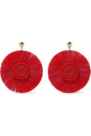 KENNETH JAY LANE Gold-tone, fringe and bead earrings