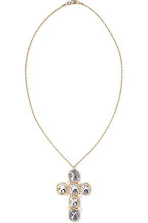 KENNETH JAY LANE Gold-tone, crystal and faux pearl necklace
