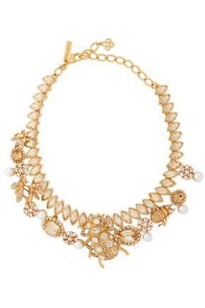OSCAR DE LA RENTA Gold-tone, crystal and faux pearl necklace