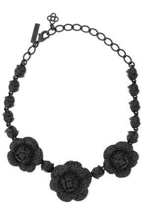 OSCAR DE LA RENTA Enameled silver-tone crystal necklace