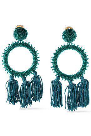 OSCAR DE LA RENTA Gold-tone bead and tassel clip earrings