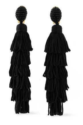 OSCAR DE LA RENTA Gold-tone, bead, cord and tassel clip earrings