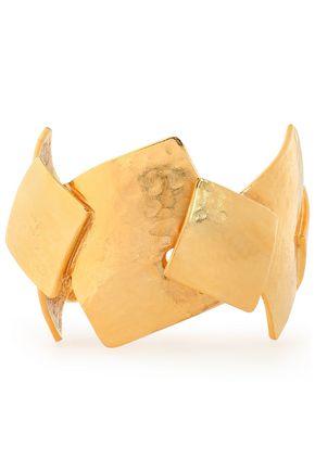 OSCAR DE LA RENTA Hammered gold-tone bracelet
