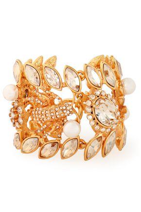 OSCAR DE LA RENTA Gold-tone, crystal, stone and faux pearl cuff