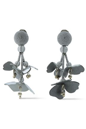 OSCAR DE LA RENTA Silver-tone, cord, bead and resin clip earrings
