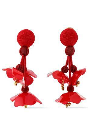 OSCAR DE LA RENTA Silver-tone, cord, bead and resin clip earrings