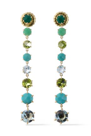 IPPOLITA 18-karat gold, crystal and stone earrings