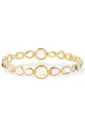 IPPOLITA 18-karat gold, quartz and moonstone bangle