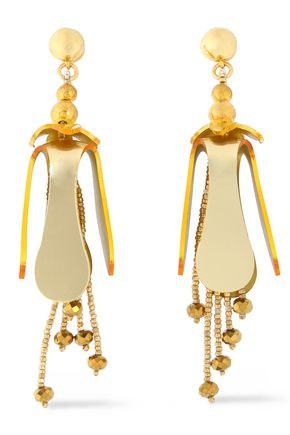 OSCAR DE LA RENTA Gold-tone, bead and resin earrings