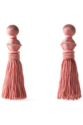 OSCAR DE LA RENTA Tasseled gold-tone, cord, bead and resin clip earrings