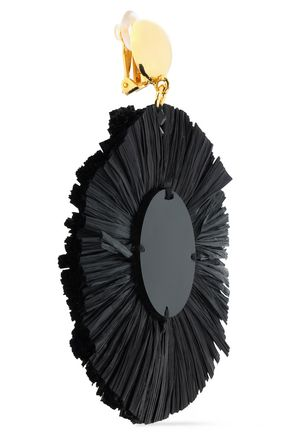 OSCAR DE LA RENTA Gold-tone, raffia and resin clip earrings